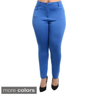 Stanzino Women's Plus Size Colored Stretch Pants
