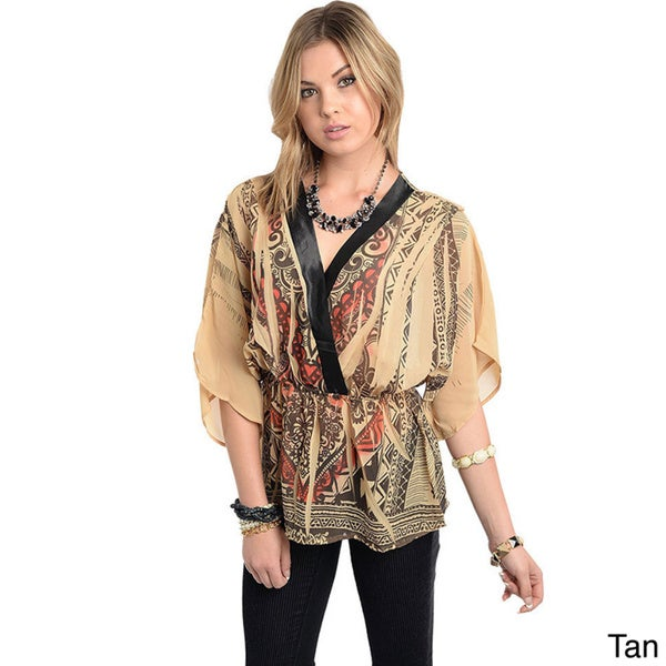 Stanzino Women's Printed Chiffon Elastic Waist Kimono Top