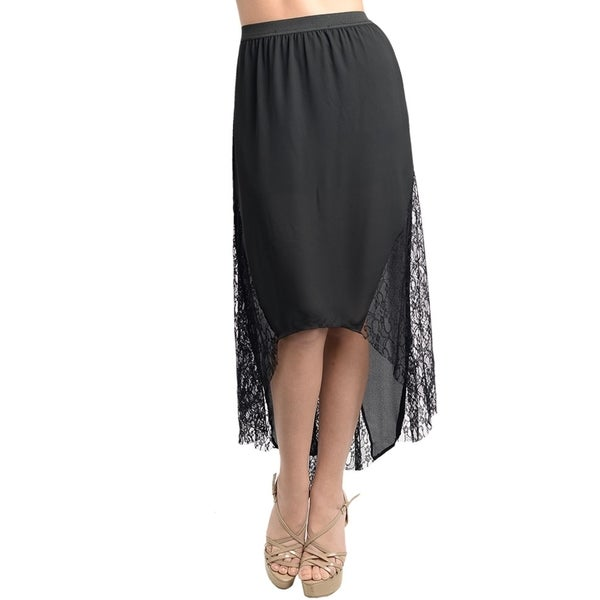 Stanzino Women's Black Chiffon Banded Waist High-low Skirt