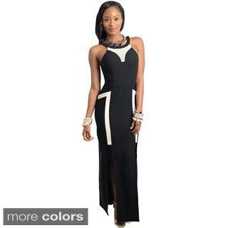 Stanzino Women's Sleeveless Mesh-neck Long Party Dress
