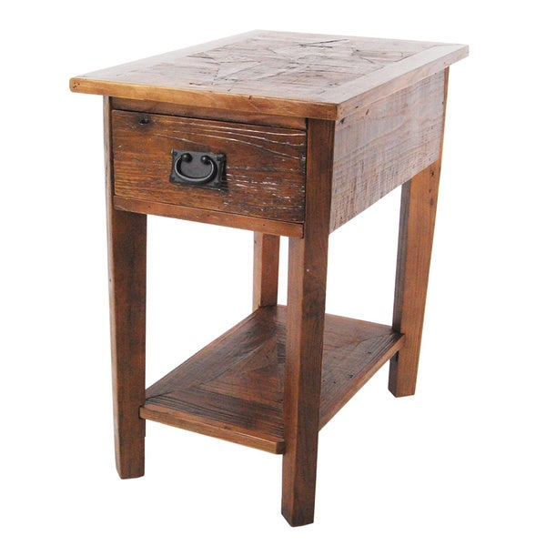 Alaterre heritage reclaimed wood side table for Reclaimed wood end table