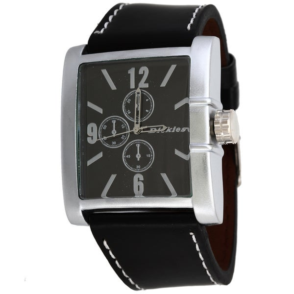 Dickies Men's Genuine Black Leather Dress Watch