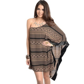 Stanzino Women's Brown Geometric Print Long Shoulder Mini Dress