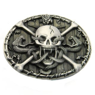 Skull and Crossbones with Snakes Belt Buckle