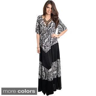 Stanzino Women's Paisley Print V-neck Maxi Dress