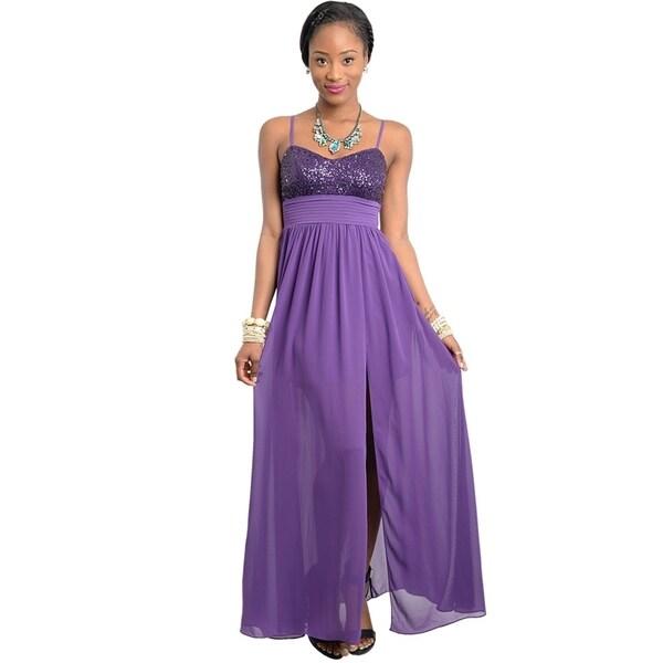 Stanzino Women's Purple Sequin Bust Long Party Dress