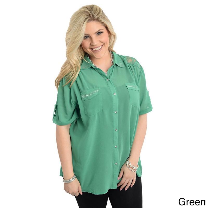 Stanzino Women 39 S Plus Size Short Sleeve Button Down Shirt