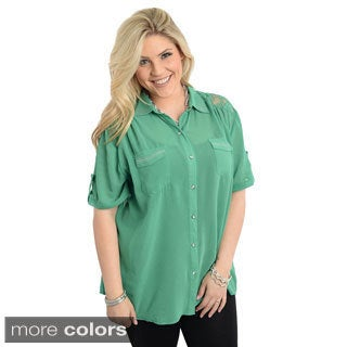 Stanzino Women's Plus Size Short Sleeve Button-down Shirt