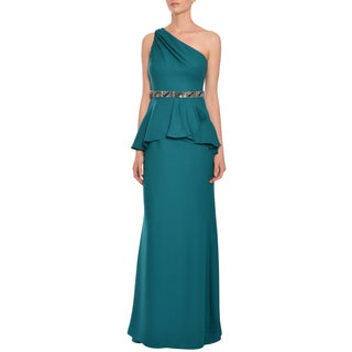 Badgley Mischka Sensational One-shoulder Beaded Evening Gown Dress
