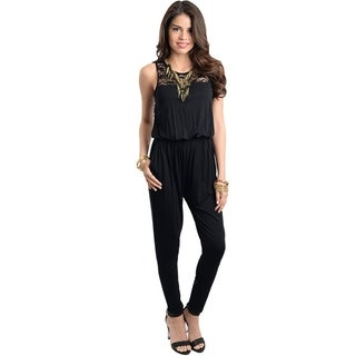 Stanzino Women's Black Sleeveless Smocked Jumpsuit