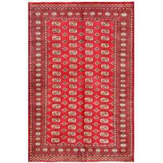 Pakistani Hand-knotted Bokhara Red/ Ivory Wool Rug (5'3 x 7'10)