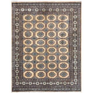 Pakistani Hand-knotted Bokhara Tan/ Brown Wool Rug (6'4 x 8')