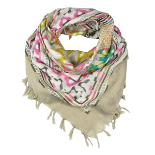 Handmade Ikat-Style Scarf with Fringe - Pink (India)