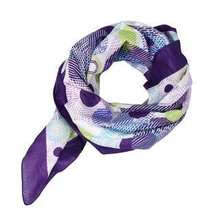 Handprinted Circlet Scarf - Purple (India)