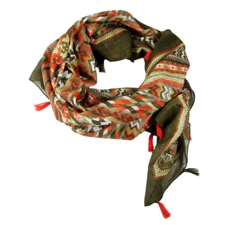 Handprinted Tasseled Chevron Scarf - Orange (India)