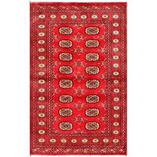 Herat Oriental Pakistani Hand-knotted Bokhara Red/ Ivory Wool Rug (3'1 x 4'10)