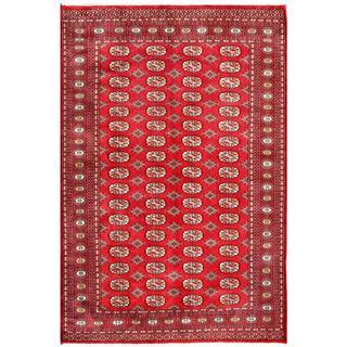 Herat Oriental Pakistani Hand-knotted Bokhara Red/ Ivory Wool Rug (5'2 x 7'9)