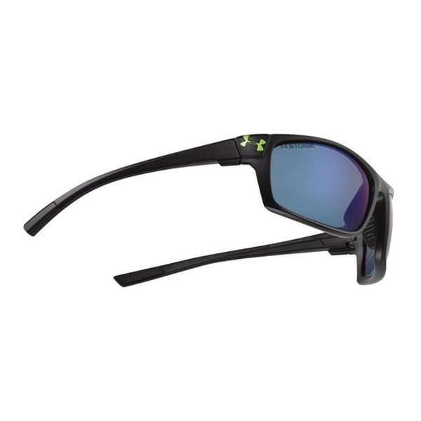 Under Armour Keepz Storm Satin Black with Gray and Blue Mirror Polarized Performance Eyewear