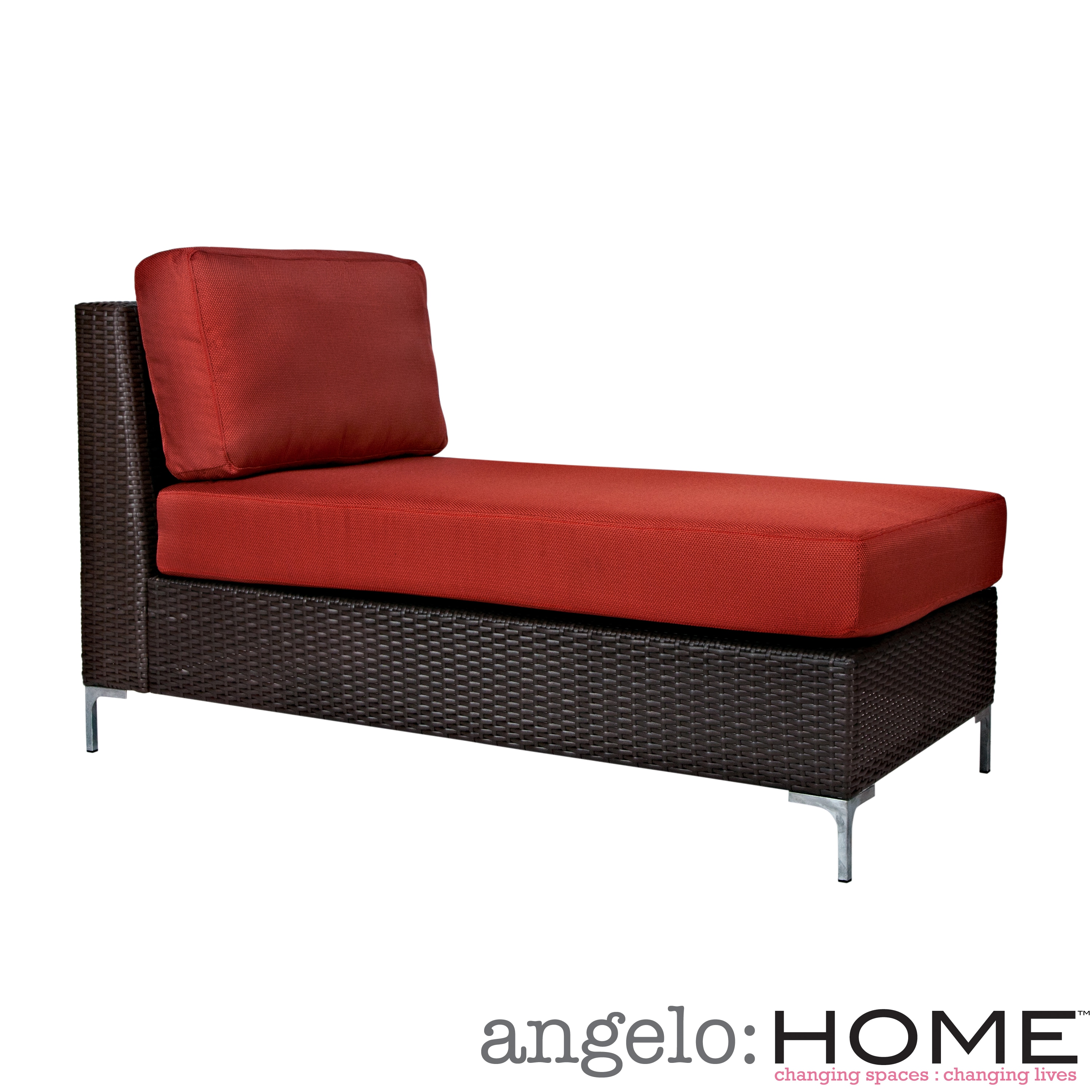 angelo:HOME Napa Springs Resin Wicker Tulip Red Armless Chaise Indoor/Outdoor Resin Wicker