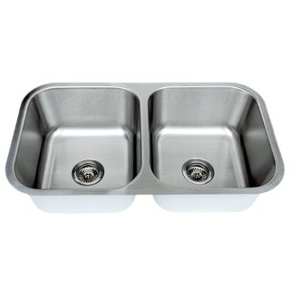 Wells 16-gauge 70/30 32-inch Double Bowl Undermount Stainless Steel Kitchen Sink