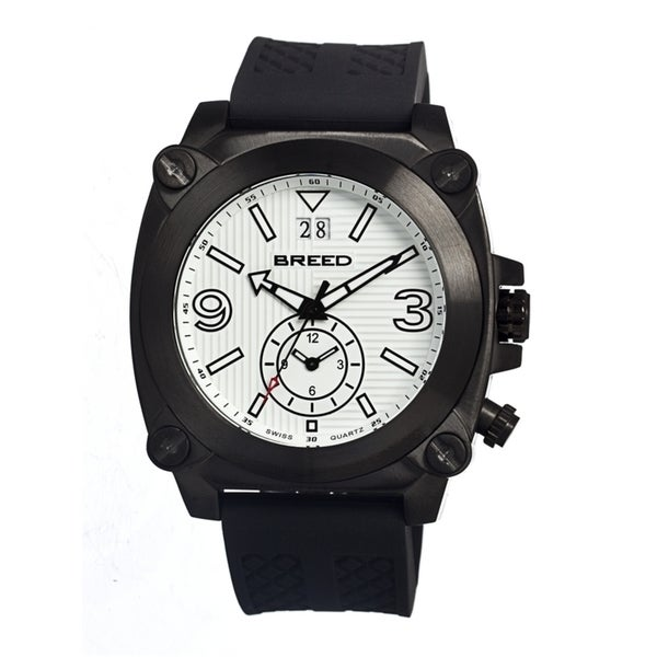 Breed Men's Vin White Silicone Black Analog Watch 12841840