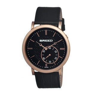 Breed Men's Maxwell Black Leather Black Analog Watch