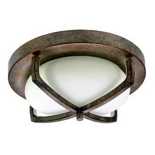 HomeSelects X Light 2-light Bronze Flush Mount Ceiling Light