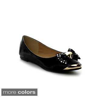 I Heart Collection Erika-02 Women's Glittering Almond-toe Flats