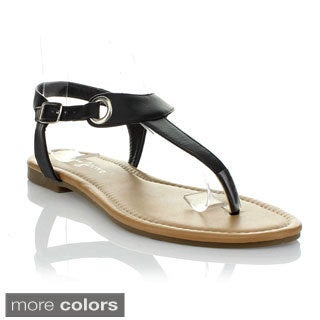 Fashion Focus Orlena-35 Women's T-Strap Flat Sandals