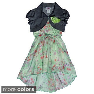 Toddler/ Girls Floral Chiffon Hi-Low Dress Set