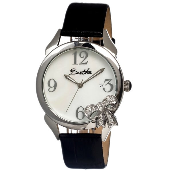Bertha Women's Bow White Leather Black Analog Watch