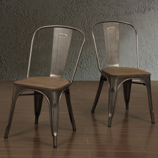 details about metal wood dining chair vintage industrial bistro side