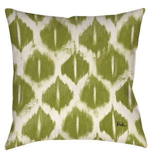 Ikat Indoor/ Outdoor Green Throw Pillow