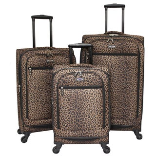 Cheetah 3-piece Expandable Spinner Polyester Luggage Set