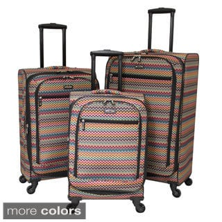 Chevron 3-piece Expandable Spinner Upright Polyester Luggage Set