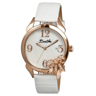 Bertha Women's Bow White Leather White Analog Watch