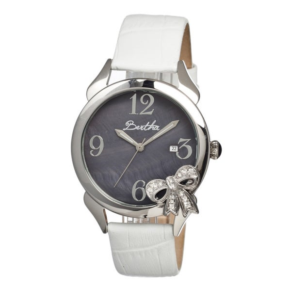 Bertha Women's Bow Black Leather White Analog Watch