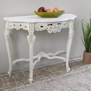 International Caravan Windsor Ornately Hand-carved Wood Half-moon Wall Table
