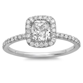 14k White Gold 1 1/10 TDW Cushion Diamond Halo Engagement Ring (G-H, SI2-I1)