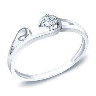 Auriya 14k White Gold 1/10ct TDW Diamond Promise Ring (H-I, SI1-SI2)