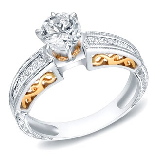 Auriya 14k Two-tone Gold 1 1/3ct TDW Certified Round Diamond Ring (H-I, SI1-SI2)