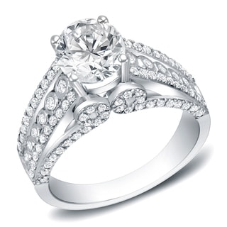 Auriya 14k White Gold 1 3/4ct TDW Certified Round Diamond Engagement Ring (H-I, SI1-SI2)