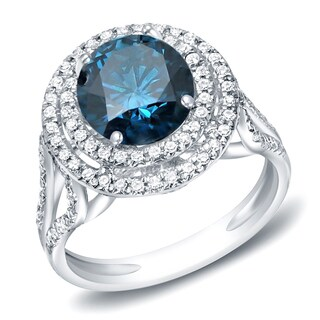 Auriya 14k Gold 1 3/4ct TDW Double Halo Blue Diamond Engagement Ring (H-I, SI1-SI2)