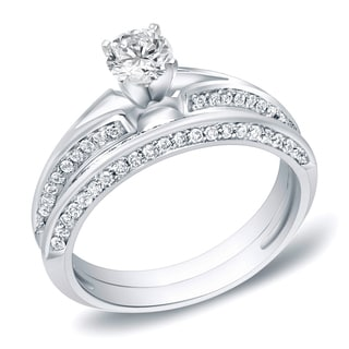 Auriya 14k White Gold 1ct TDW Certified Round Diamond Bridal Ring Set (H-I, SI1-SI2)