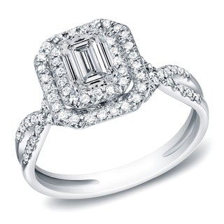 Auriya 14k White Gold 4/5ct TDW Emerald Halo Diamond Engagement Ring (H-I, SI1-SI2)