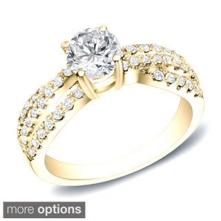 Auriya 14k Gold 3/4ct TDW Round Diamond Engagement Ring (H-I, SI1-SI2)