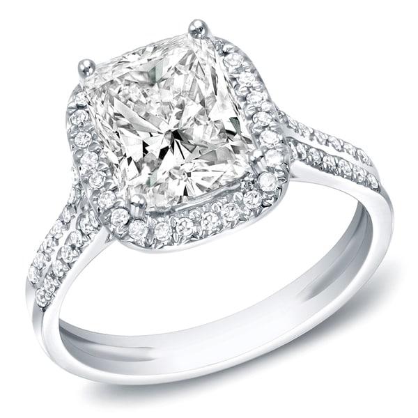 Auriya 14k White Gold 2ct TDW Certified Cushion Diamond Engagement Ring (I, VS1-VS2)