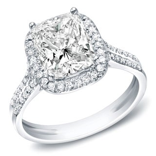Auriya 14k White Gold 2ct TDW Certified Cushion Diamond Engagement Ring (I, VS1-VS2)
