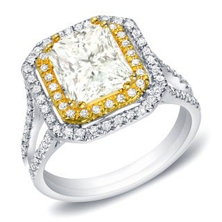 Auriya 14k Two-tone Gold 1 4/5ct TDW Certified Princess-cut Diamond Ring (I-J, I1-I2)