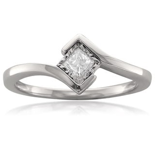 14k White Gold 1/5ct TDW Princess Bezel Solitaire Diamond Ring (G-H, SI2-I1)